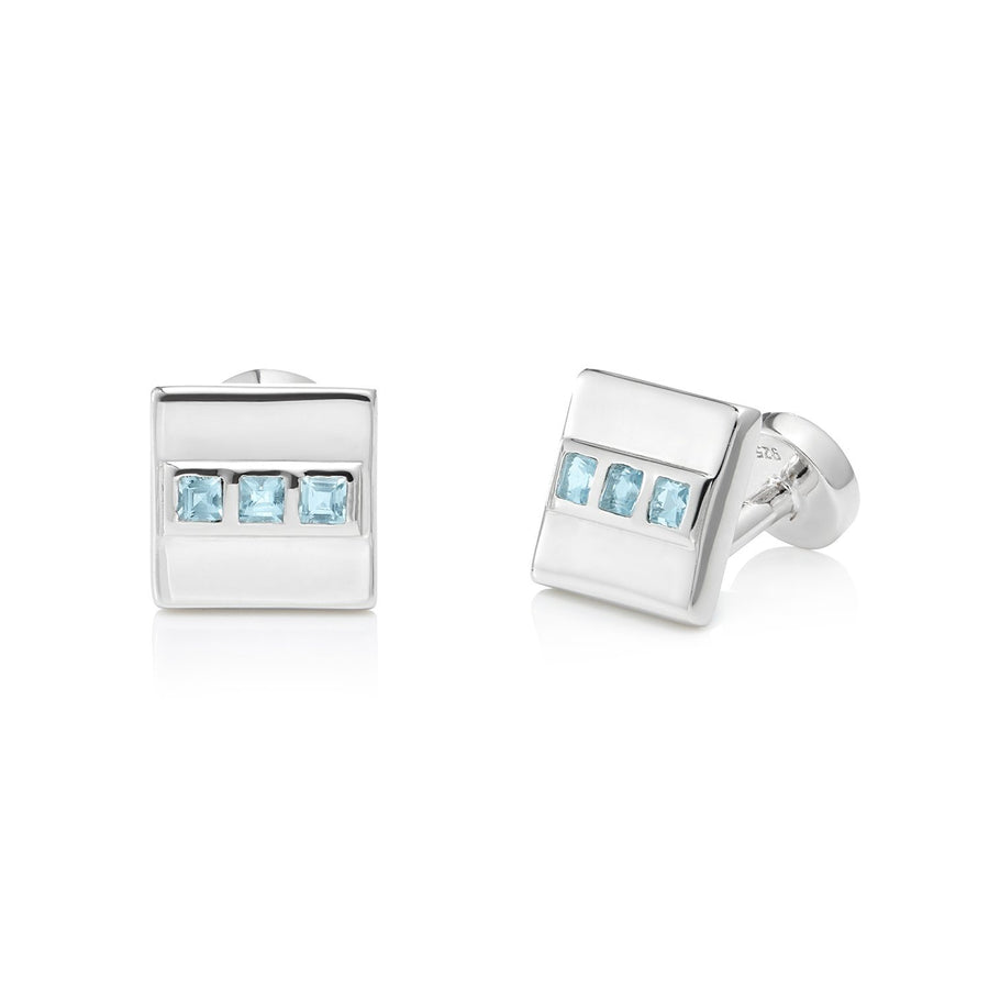 San Shi Blue Topaz Cufflinks, Sterling Silver - Tsai x Tsai | Luxury Gemstone Jewellery Gift