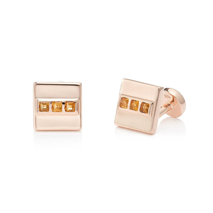 San Shi Citrine Cufflinks, 18 ct Rose Gold Vermeil - Tsai x Tsai | Luxury Gemstone Jewellery Gift