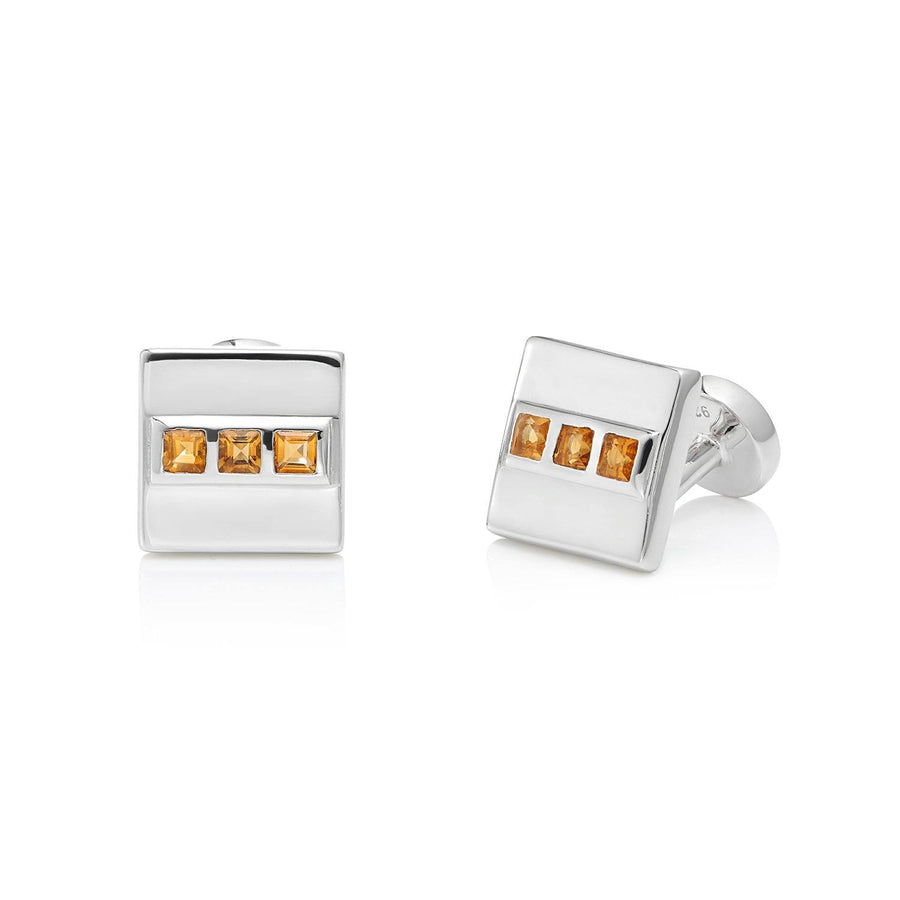 San Shi Citrine Cufflinks, Sterling Silver - Tsai x Tsai | Luxury Gemstone Jewellery Gift