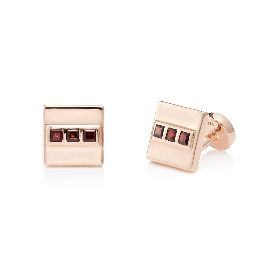 San Shi Garnet Cufflinks, 18 ct Rose Gold Vermeil - Tsai x Tsai | Luxury Gemstone Jewellery Gift