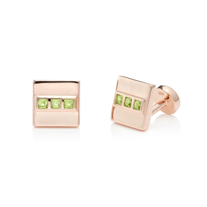San Shi Peridot Cufflinks, 18 ct Rose Gold Vermeil - Tsai x Tsai | Luxury Gemstone Jewellery Gift