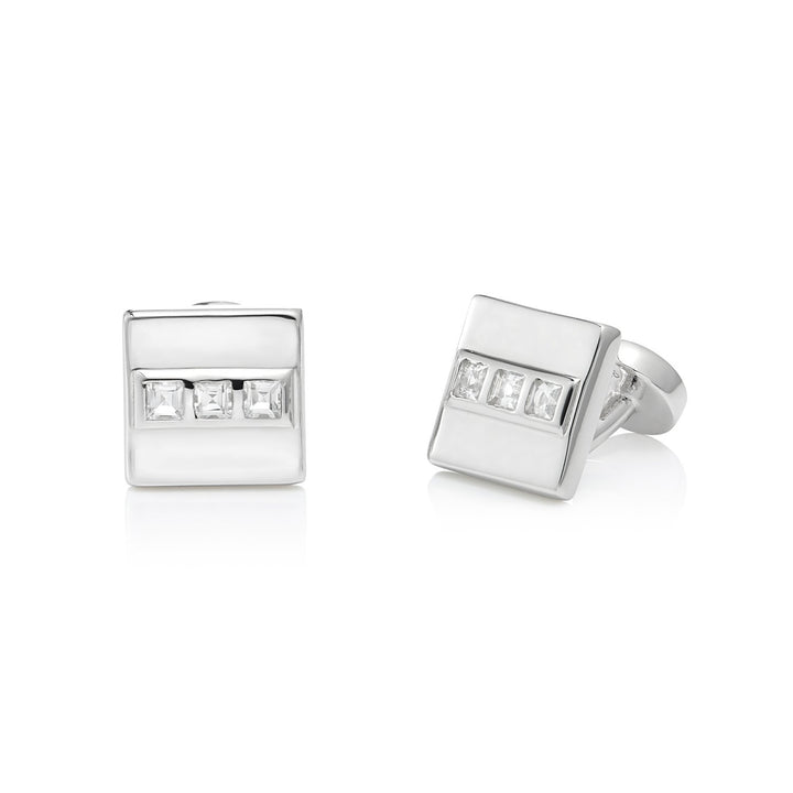 San Shi White Topaz Cufflinks, Sterling Silver - Tsai x Tsai | Luxury Gemstone Jewellery Gift