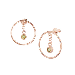 Di Diao Peridot Hoop Earrings, 18ct Rose Gold Vermeil