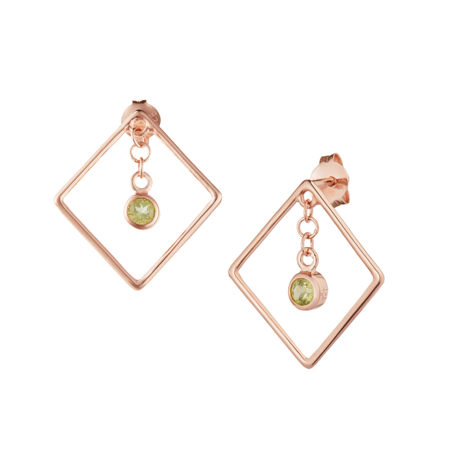 Di Diao Peridot & Rose Gold Vermeil Square Earrings