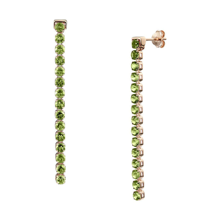 Pinglin Peridot Earrings, 18ct Rose Gold Vermeil