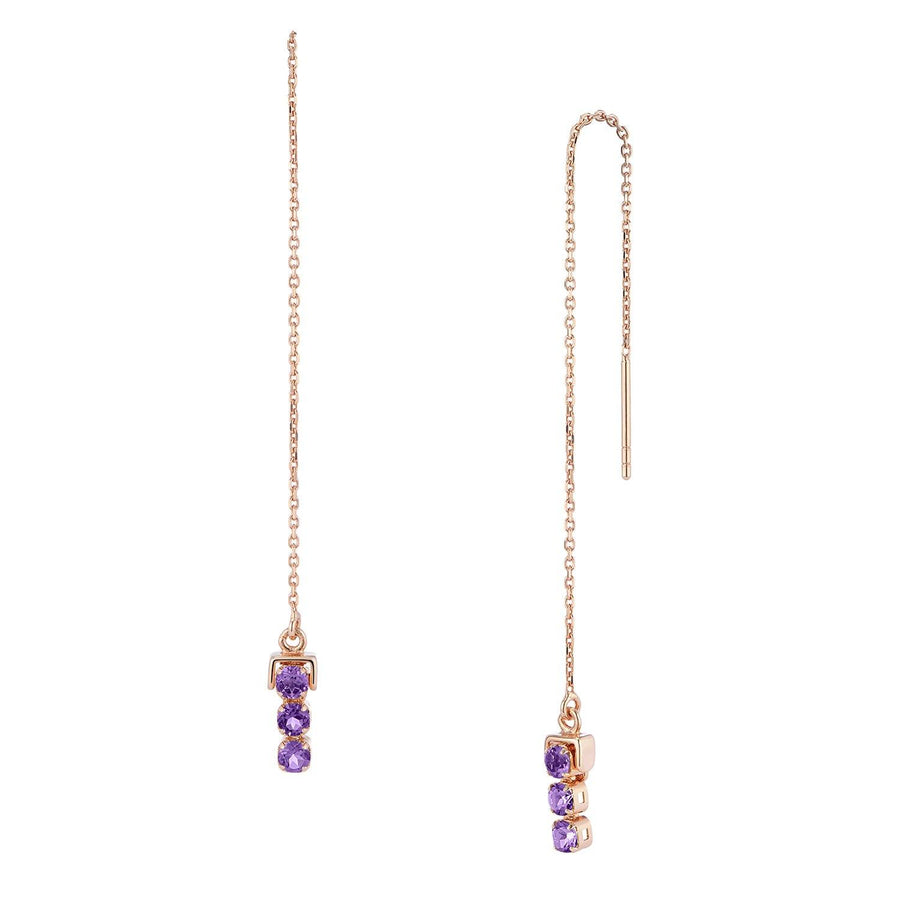 San Shi Amethyst Long Earrings, 18 ct Rose Gold Vermeil - Tsai x Tsai | Luxury Gemstone Jewellery Gift