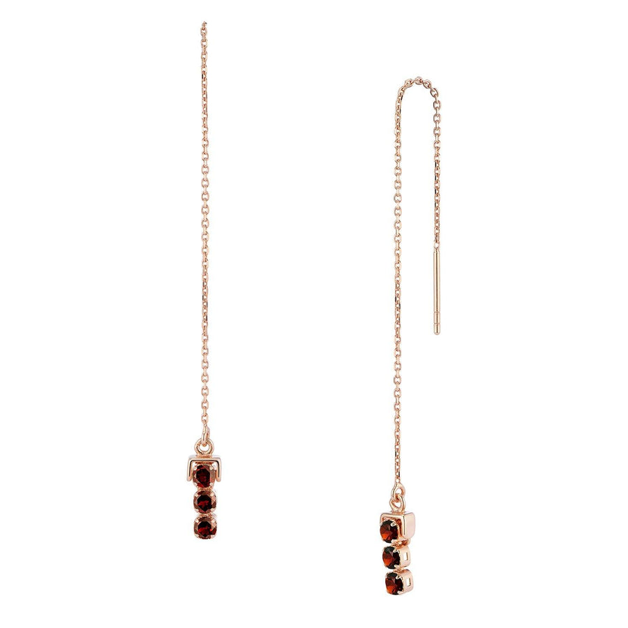 San Shi Garnet Long Earrings, 18 ct Rose Gold Vermeil - Tsai x Tsai | Luxury Gemstone Jewellery Gift