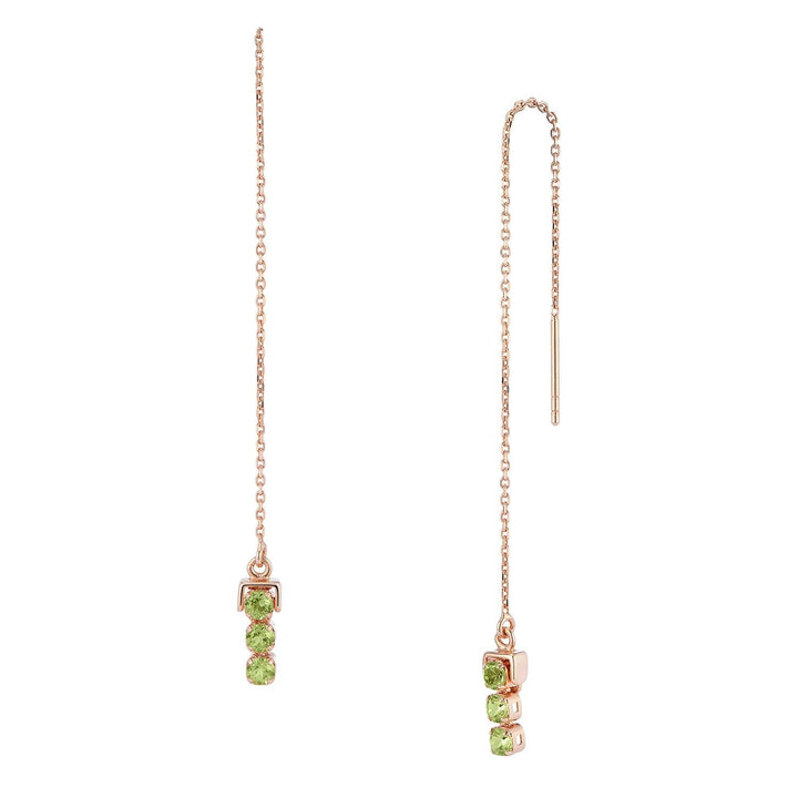San Shi Peridot Long Earrings, 18 ct Rose Gold Vermeil - Tsai x Tsai