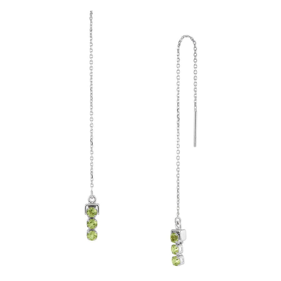San Shi Peridot Long Earrings, Sterling Silver - Tsai x Tsai | Luxury Gemstone Jewellery Gift