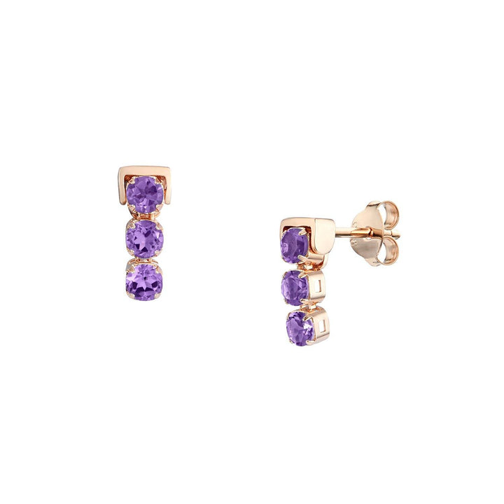 San Shi Amethyst Stud Earrings, 18 ct Rose Gold Vermeil - Tsai x Tsai