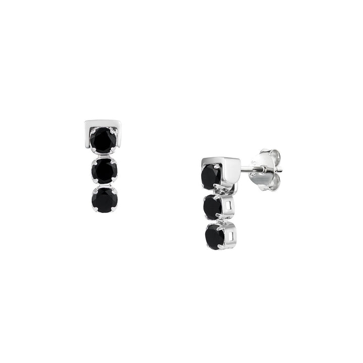 San Shi Black Spinel Stud Earrings, Sterling Silver - Tsai x Tsai | Luxury Gemstone Jewellery Gift
