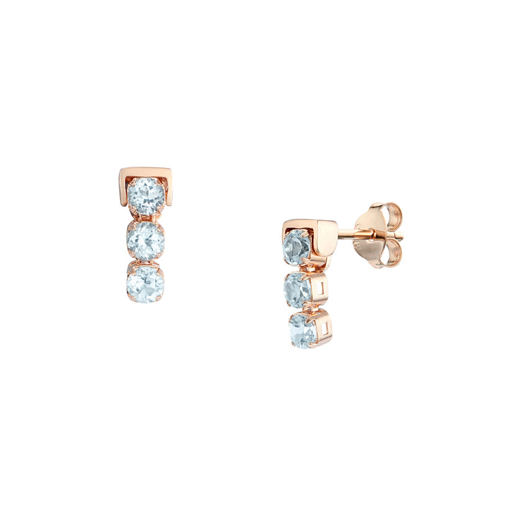 San Shi Blue Topaz Stud Earrings, 18 ct Rose Gold Vermeil - Tsai x Tsai