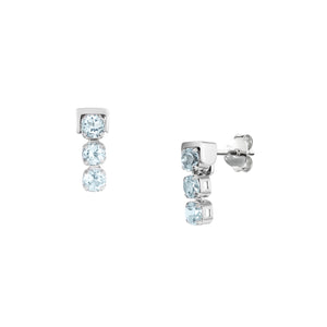 San Shi Blue Topaz Stud Earrings, Sterling Silver - Tsai x Tsai | Luxury Gemstone Jewellery Gift