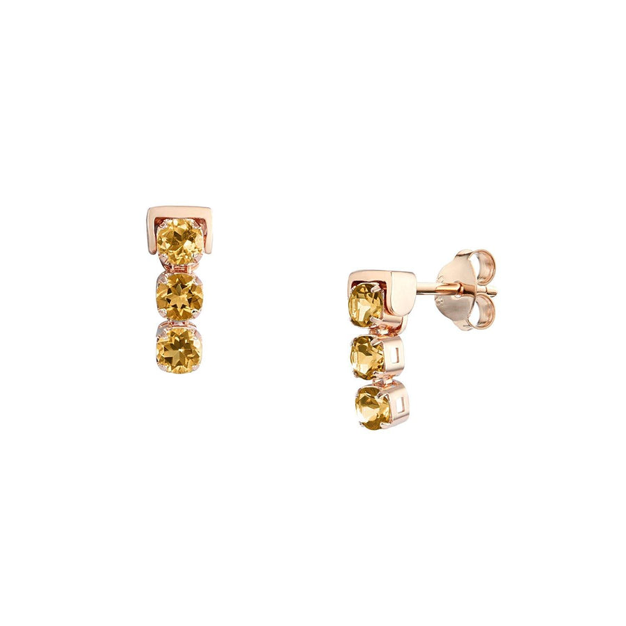 San Shi Citrine Stud Earrings, 18 ct Rose Gold Vermeil - Tsai x Tsai | Luxury Gemstone Jewellery Gift