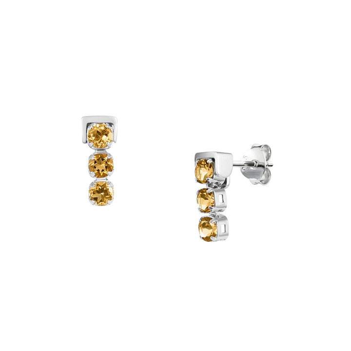 San Shi Citrine Stud Earrings, Sterling Silver - Tsai x Tsai | Luxury Gemstone Jewellery Gift