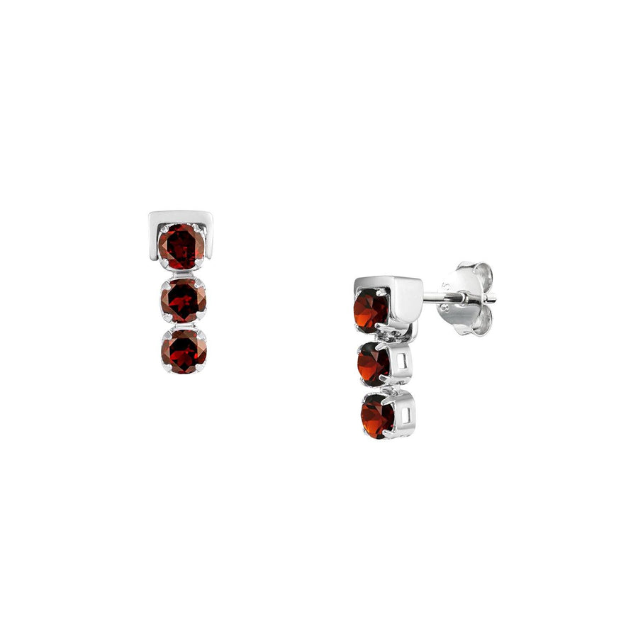 San Shi Garnet Stud Earrings, Sterling Silver - Tsai x Tsai | Luxury Gemstone Jewellery Gift