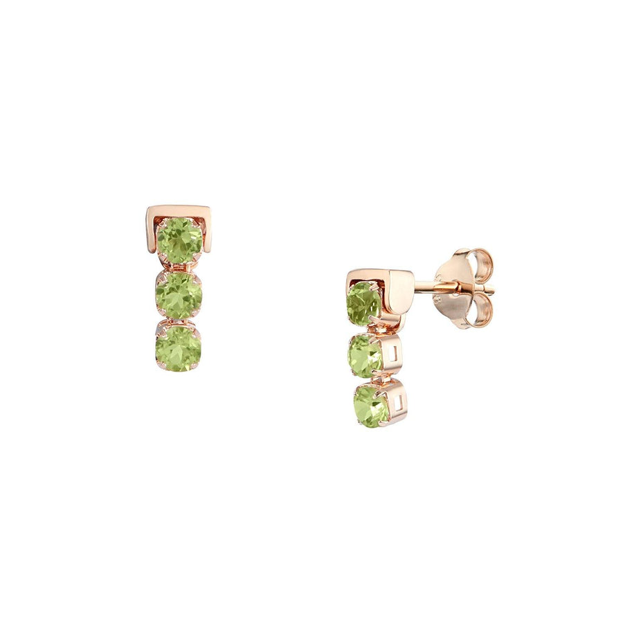 San Shi Peridot Stud Earrings, 18 ct Rose Gold Vermeil - Tsai x Tsai | Luxury Gemstone Jewellery Gift