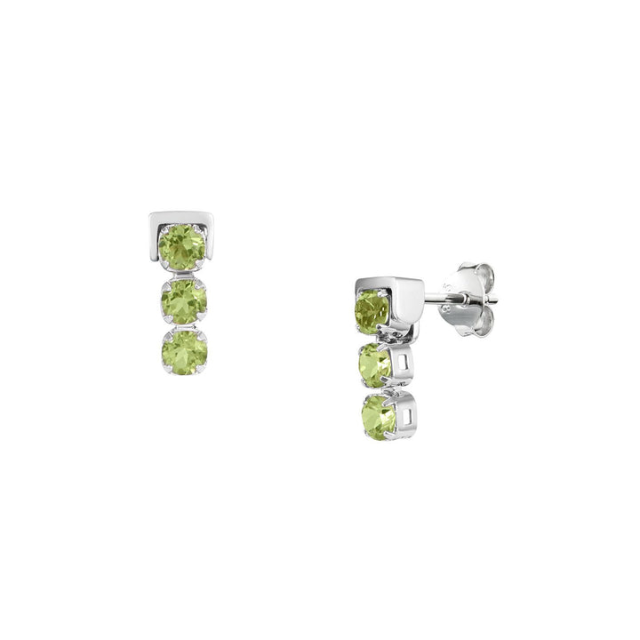 San Shi Peridot Stud Earrings, Sterling Silver - Tsai x Tsai | Luxury Gemstone Jewellery Gift