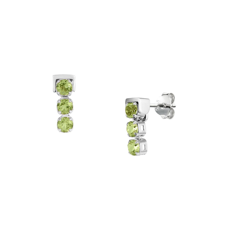 San Shi Peridot Stud Earrings, Sterling Silver - Tsai x Tsai