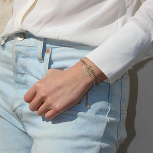 model wearing San Shi Citrine adjustable bracelet, 925 sterling silver, Beitou Citrine Bracelet and San Shi Peridot Bracelet - Tsai x Tsai | Luxury Gemstone Jewellery Gift