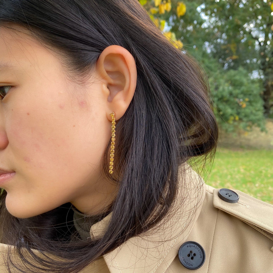 model wearing Beitou Citrine Earrings 18ct Vermeil - Tsai by Tsai Luxury Natural Gemstone Jewellery Gift