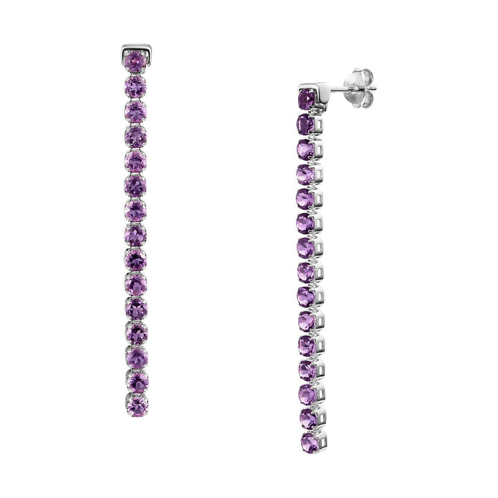Wanli Amethyst Earrings, Sterling Silver