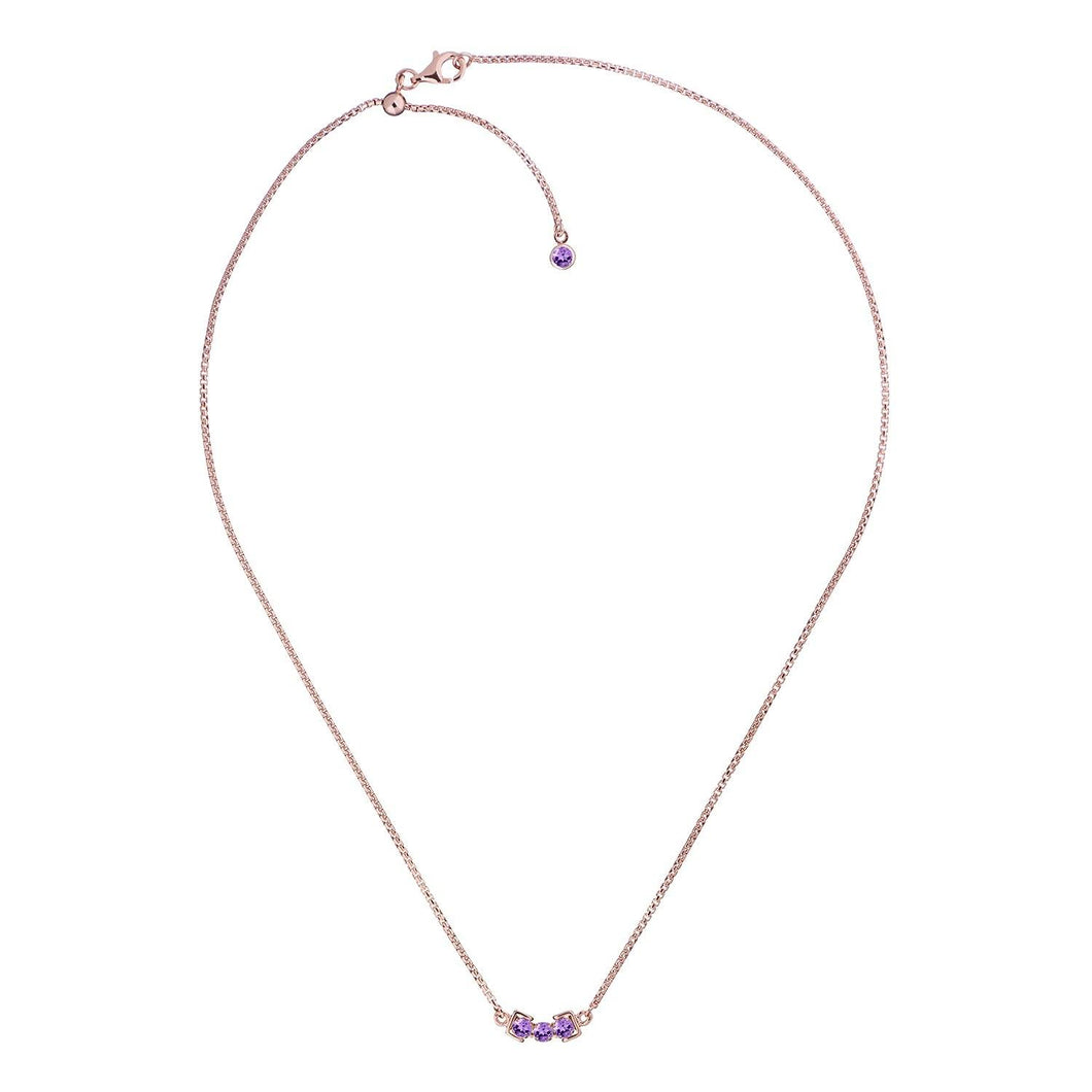 San Shi Amethyst Necklace, 18 ct Rose Gold Vermeil