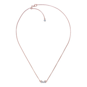San Shi Blue Topaz Necklace, 18 ct Rose Gold Vermeil
