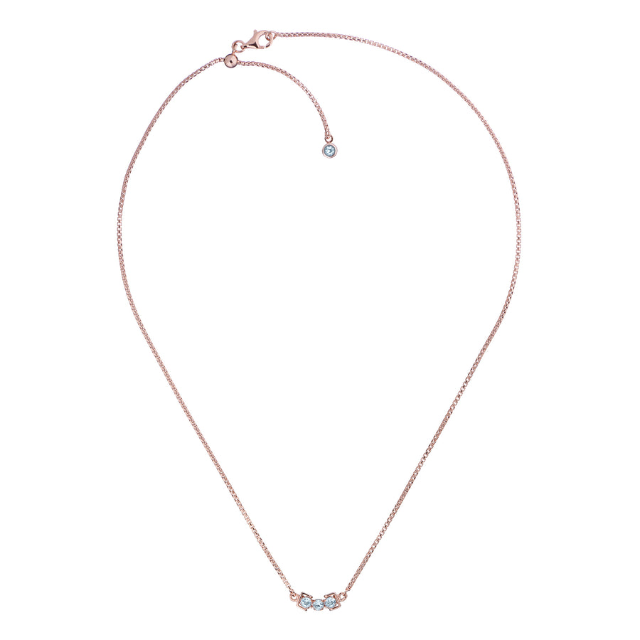 San Shi Blue Topaz Necklace, 18 ct Rose Gold Vermeil - Tsai x Tsai | Luxury Gemstone Jewellery Gift