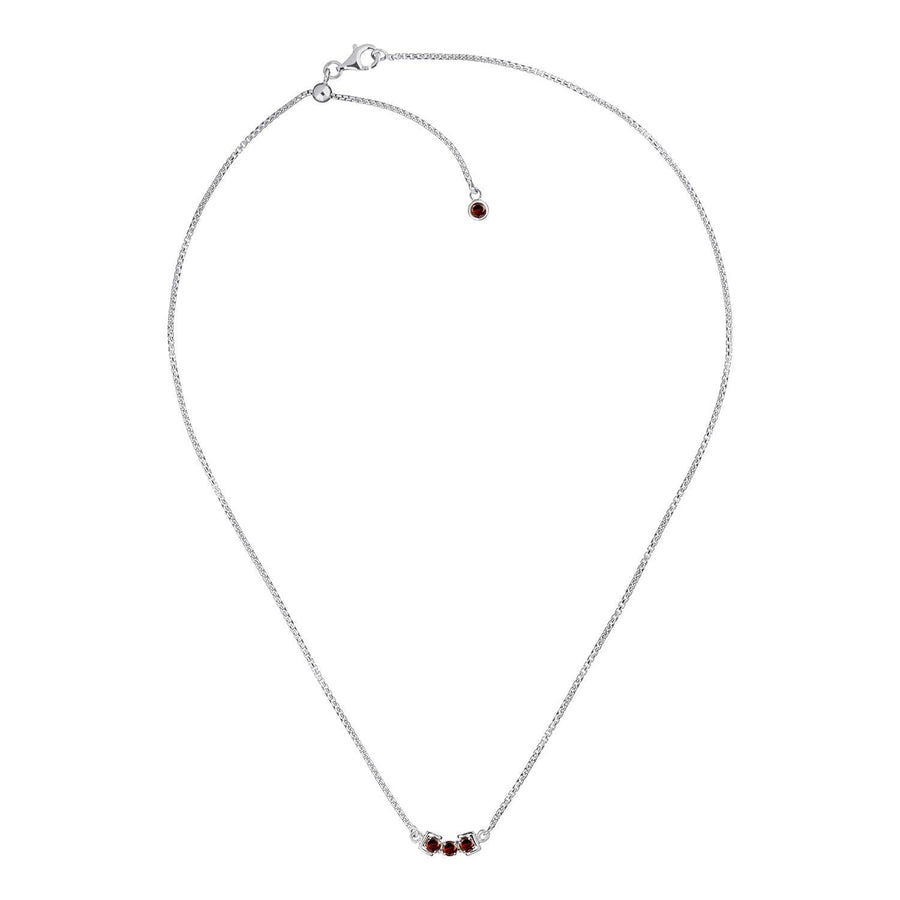 San Shi Garnet Necklace, Sterling Silver - Tsai x Tsai | Luxury Gemstone Jewellery Gift