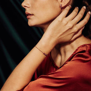 model wearing San Shi Amethyst Bracelet, 18 ct Rose Gold Vermeil - Tsai x Tsai | Luxury Gemstone Jewellery Gift