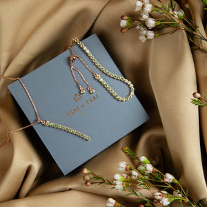 Complimentary luxury gift wrap from Tsai by Tsai Luxury Natural Gemstone Jewellery present packaging design with Pinglin peridot bracelet and necklace set