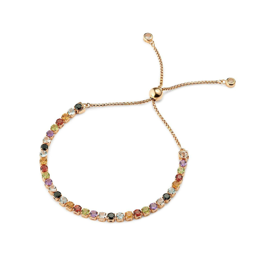 Sanchong Rainbow Gemstones Bracelet, 18 ct Rose Gold Vermeil - Tsai x Tsai | Luxury Gemstone Jewellery Gift