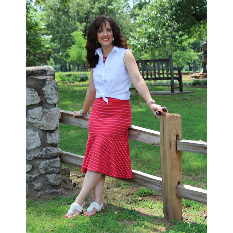 Flounce Skirt - Red/White Stripe, Lady by Design Apparel