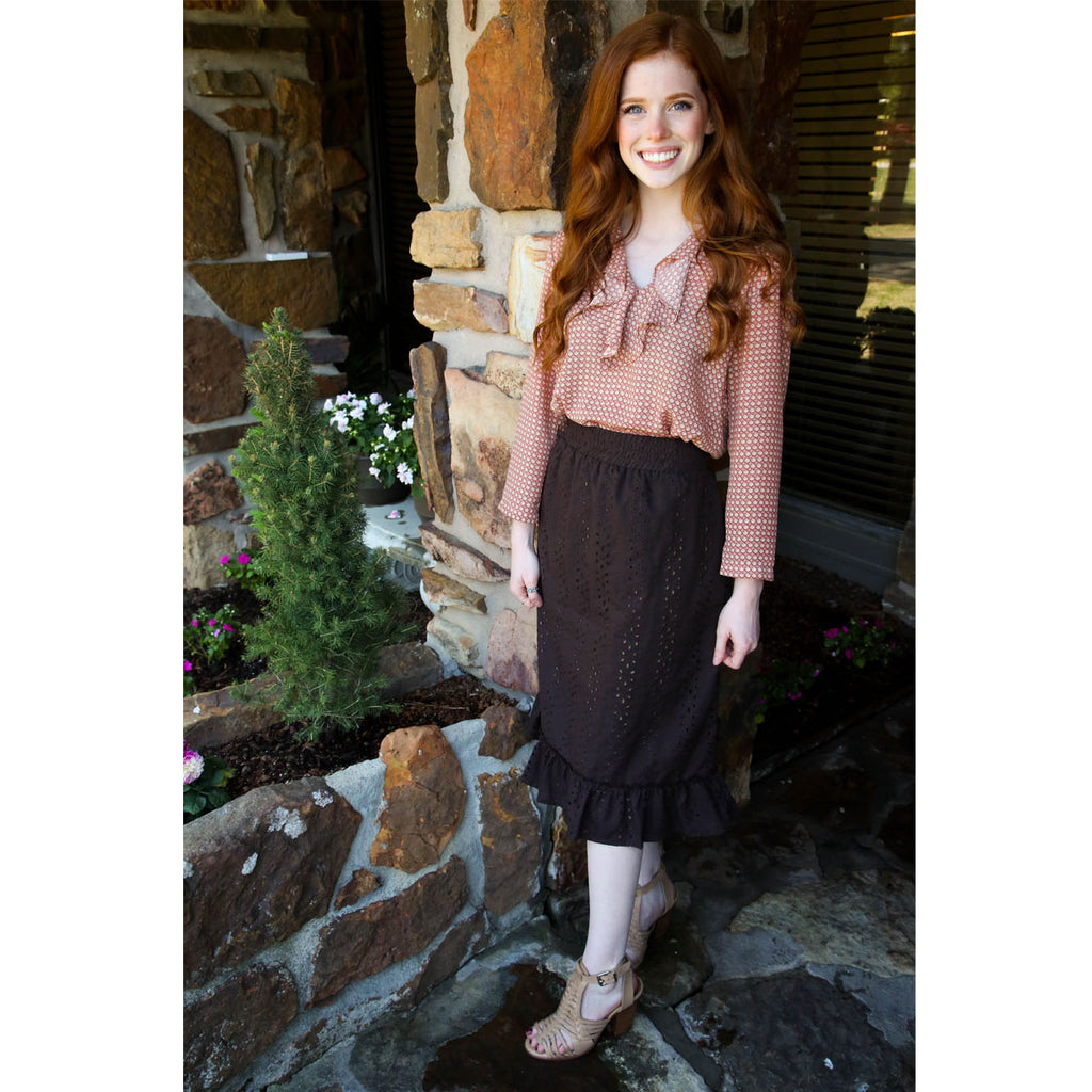 Eyelet Skirt - Brown, Lady by Design Apparel