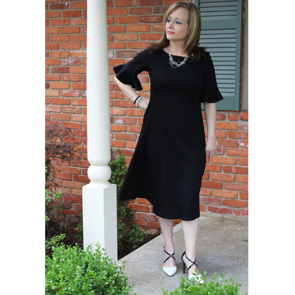 Flounce Sleeve Dress - Classic Black, Lady by Design Apparel