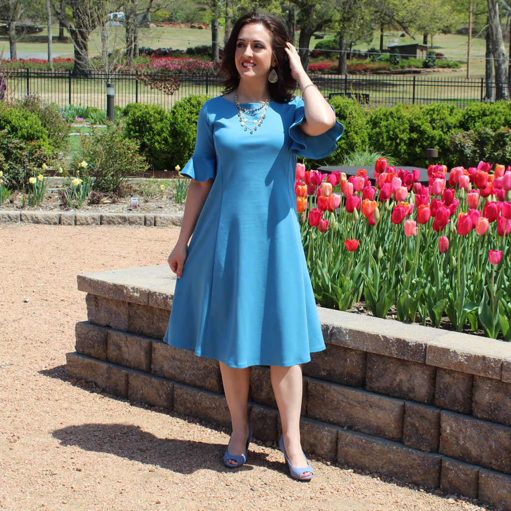Flounce Sleeve Dress in Teal Blue, Lady by Design Apparel