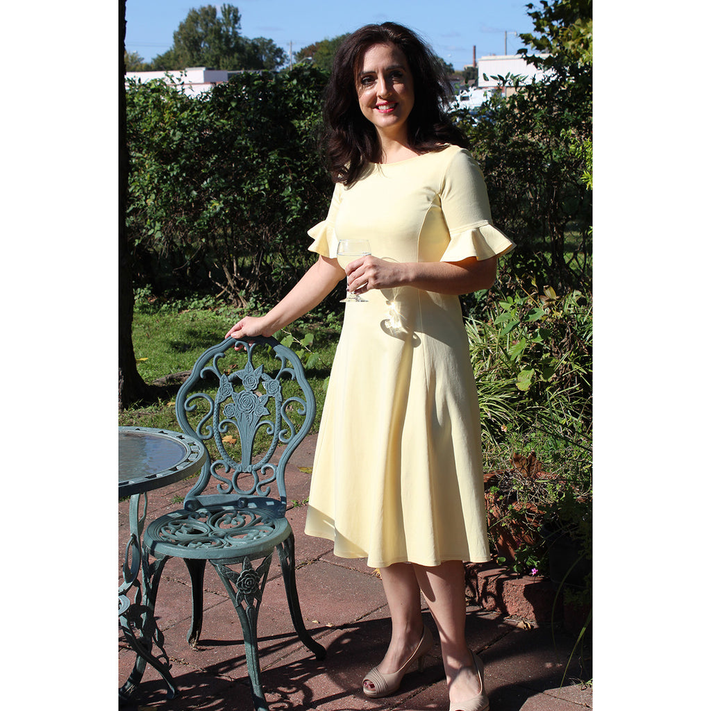 Flounce Sleeve Dress in Buttercup, Lady by Design Apparel