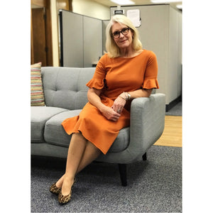 Flounce Sleeve Dress - Amber Orange, Lady by Design Apparel