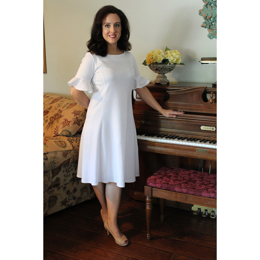 Flounce Sleeve Dress in White, Lady by Design Apparel