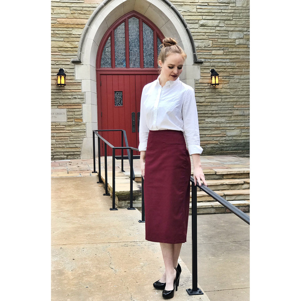 Classic Pencil Skirt - Burgundy, Lady by Design