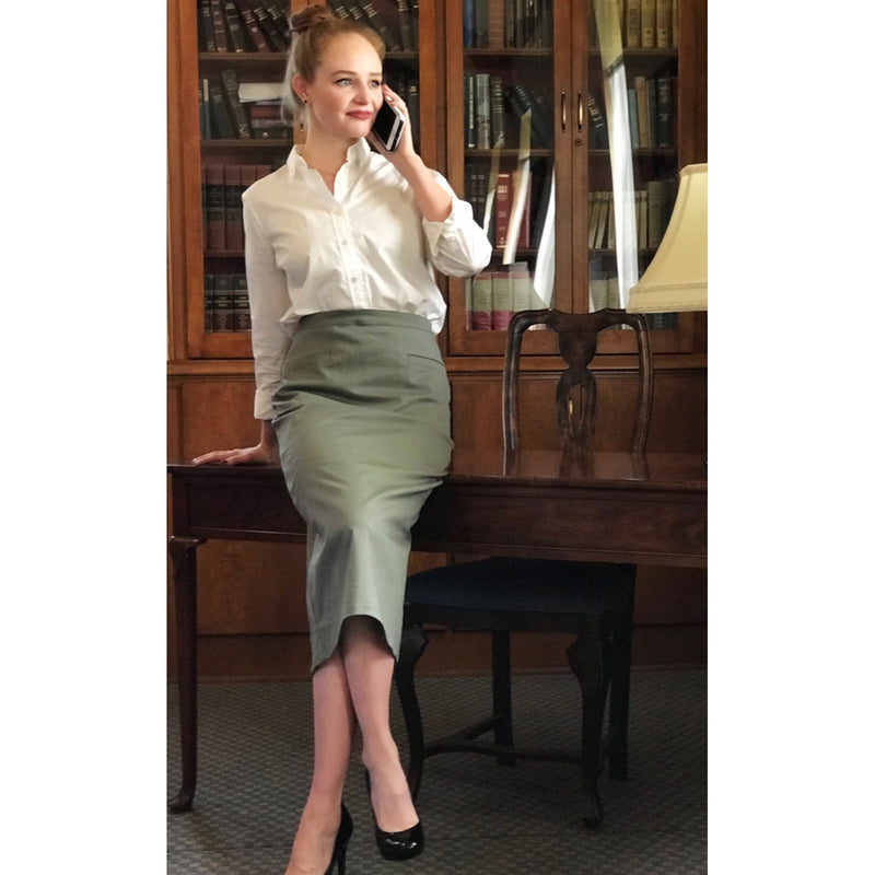 Classic Pencil Skirt - Olive, Lady by Design