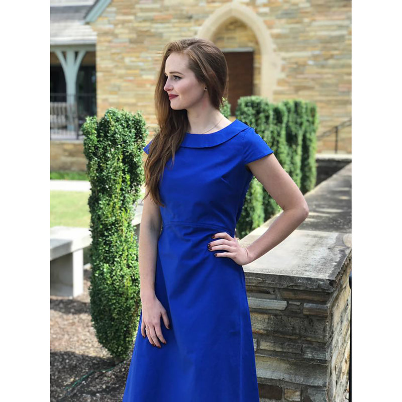 Portrait Collar Dress - Brilliant Blue, Lady by Design Apparel