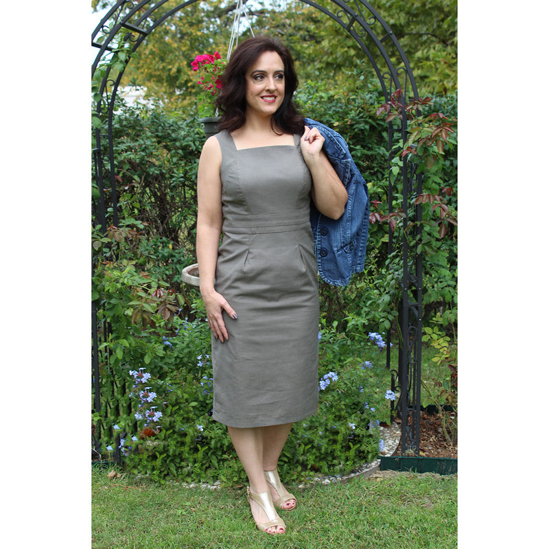 Square Collar Dress - Olive Fabric, Lady by Design Apparel