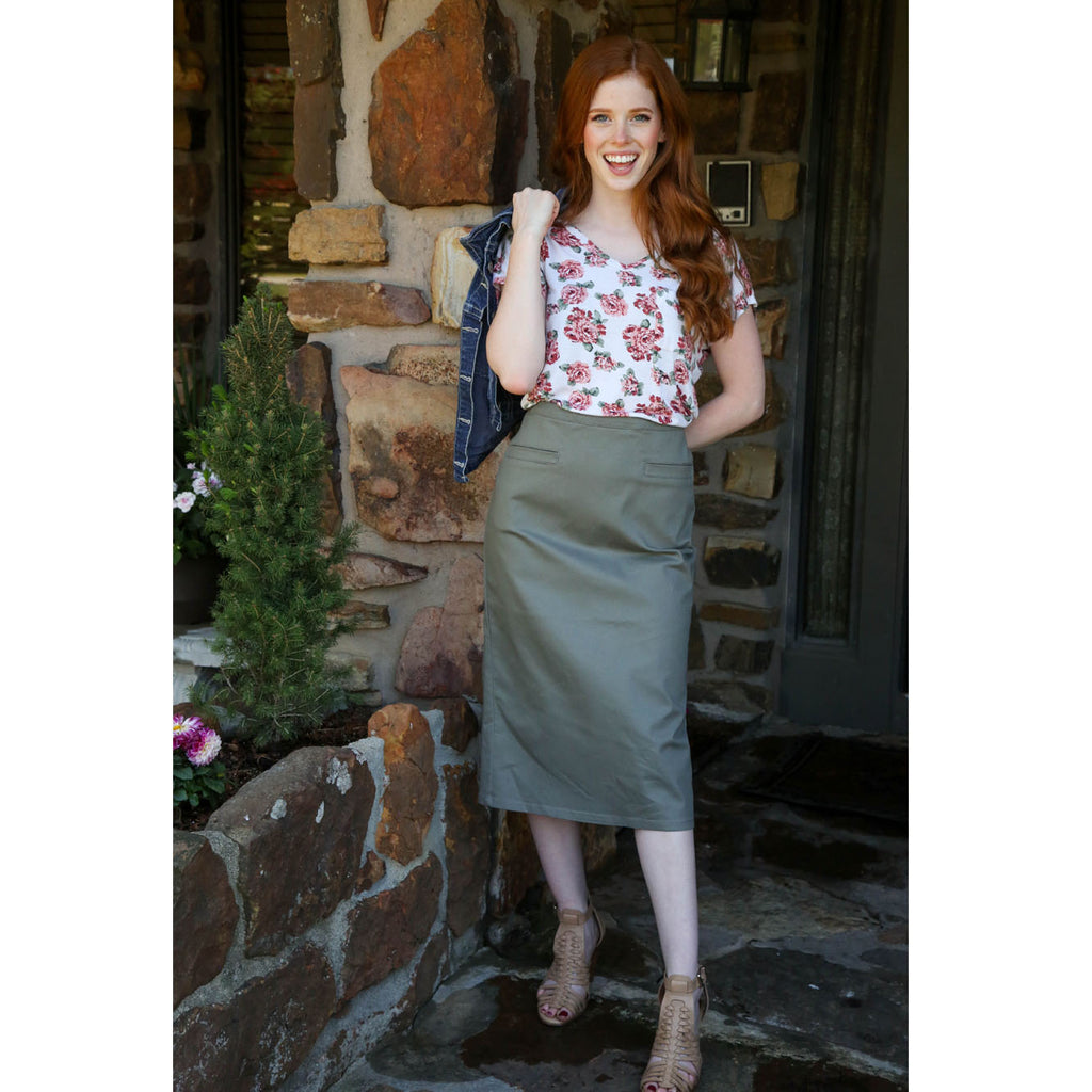 Classic Pencil Skirt - Mushroom, Lady by Design Apparel