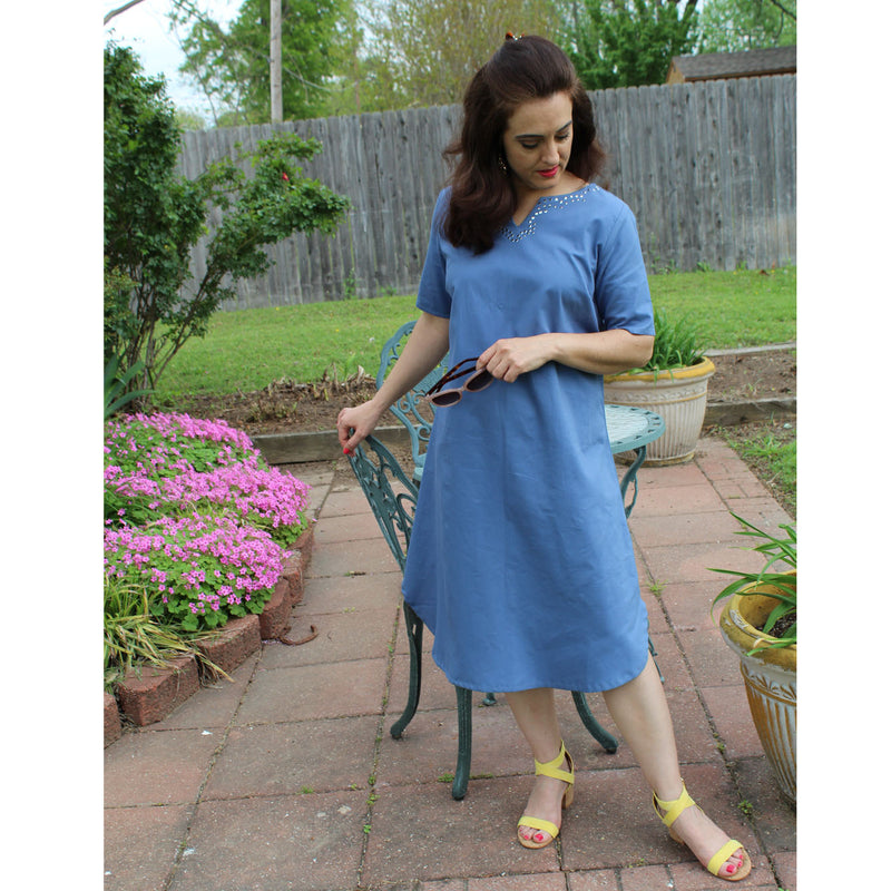 Sheath Style Dress - Slate Blue, Lady by Design Apparel