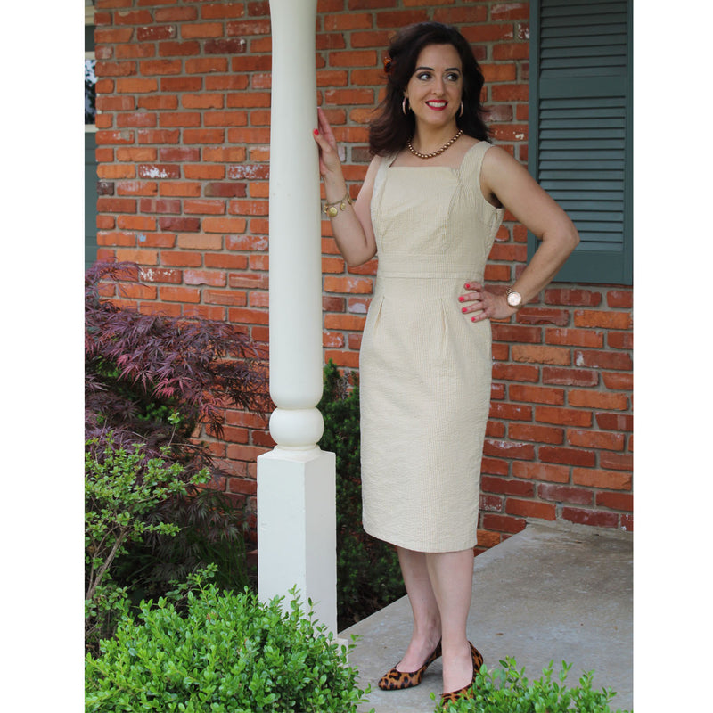 Square Collar Dress - Gold Stripe, Lady by Design Apparel