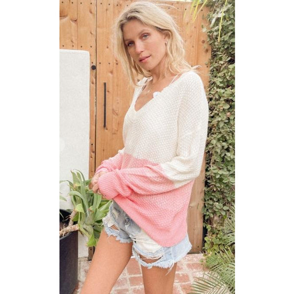 Ombre Distressed Cotton Sweater - Pink