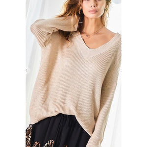Drew Knit V-Neck Sweater - Taupe