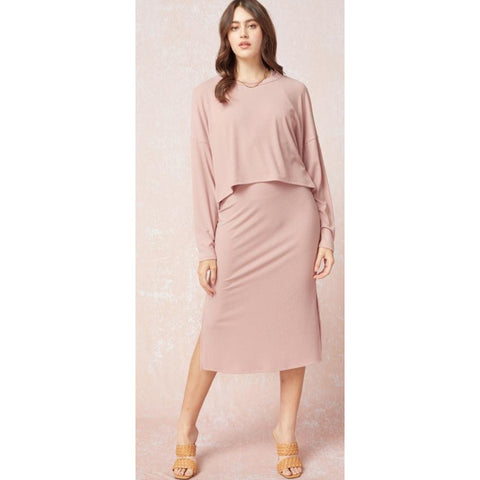 Retail Therapy Two-Piece Midi Dress - Mauve